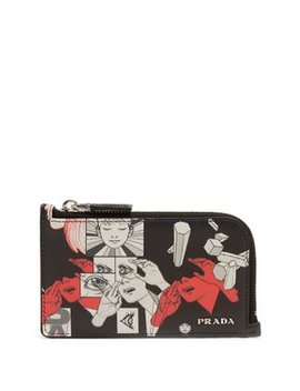 Saffiano Leather Comic Strip Cardholder by Prada