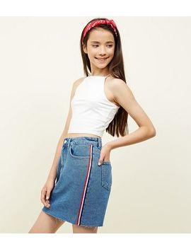 Teens Blue Stripe Side Tape Denim Skirt by New Look