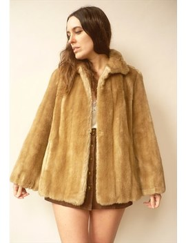 1970's Vintage Mink Brown Faux Fur Winter Coat Jacket by 5678vintage