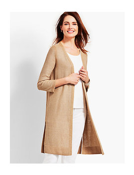 Textured Linen Roll Tab Long Duster   Metallic by Talbots