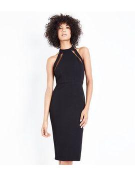 Ax Paris Black Mesh Panel Strappy Midi Dress by New Look