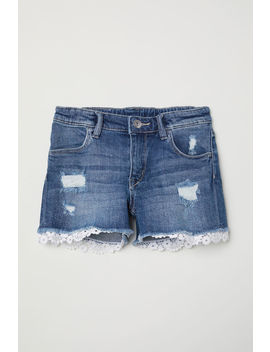 Lace Trimmed Denim Shorts by H&M