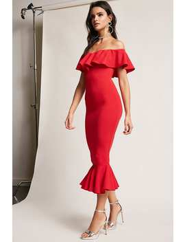 Off The Shoulder Flounce Dress by F21 Contemporary