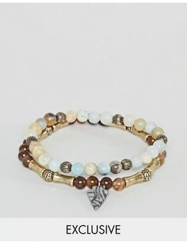 Reclaimed Vintage Inspired Beaded Bracelet With Semi Precious Stones In 2 Pack Exclusive To Asos by Reclaimed Vintage