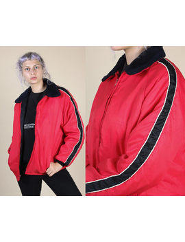 80s Striped Puffy Jacket // Vintage Red & Black Faux Fur Collar Winter Coat Mens Womens   Medium To Large by Etsy