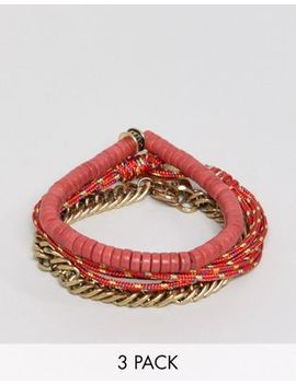 Icon Brand Red Combo Bracelet In 3 Pack by Icon Brand