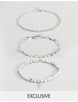 Chained & Able Majesty Chain & White Marble Bracelet In 3 Pack Exclusive To Asos by Chained & Able