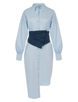 Satin Poplin Shirtdress With Removable Corset by Tibi