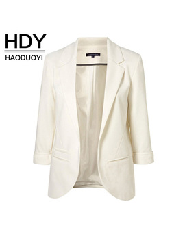 Hdy Haoduoyi 2018 Spring Slim Fit Blazer Women Formal Jackets Office Work Open Front Notched Blazer Black Ladies Blazer   by Haoduoyi