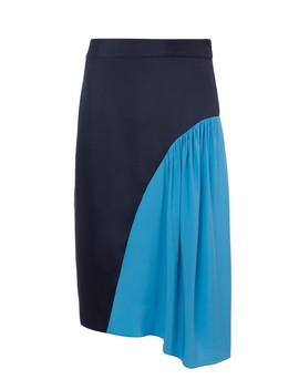 Color Block Shirred Skirt by Tibi