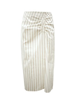 Sateen Stripe Shirred Skirt by Tibi