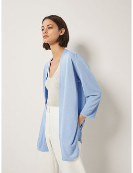 Cardigan With Textured Weave Sleeve Detail by Massimo Dutti
