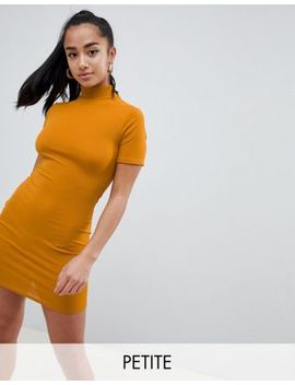 Missguided Petite High Neck Ribbed Bodycon Dress by Missguided Petite