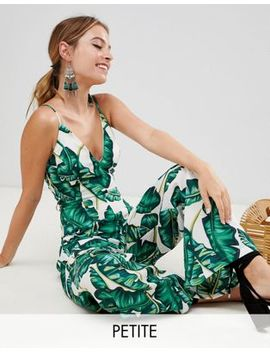 Missguided Petite Palm Print Wide Leg Jumpsuit by Missguided Petite