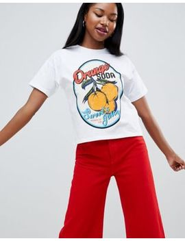 Asos Design T Shirt In Boxy Fit With Florida Orange Print by Asos Design