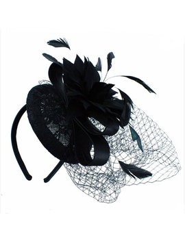 Black, Noir, Fascinator, Hat, Fascinators, Fascinator Hat, Races, Wedding, Derby, Derby Hat, Hair Accessory, Pillbox, Veil, Wedding Hat, Bow by Etsy