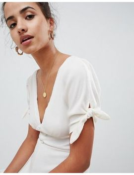Asos Design Tea Playsuit With Lace Trims In Slouchy Rib by Asos Design