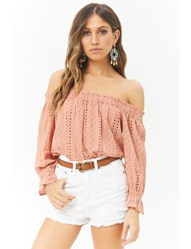 Floral Embroidered Off The Shoulder Eyelet Top by Forever 21