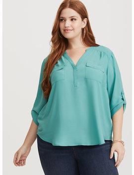 harper---seafoam-green-georgette-pullover-blouse by torrid