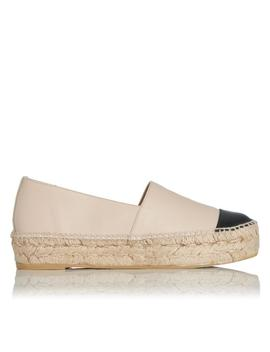 Talia Nude And Black Leather Espadrille by L.K.Bennett
