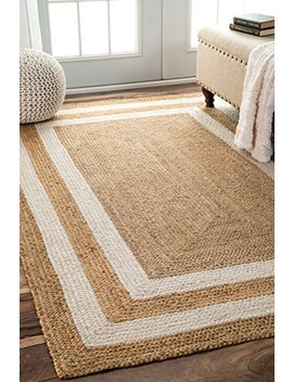 Nu Loom Fibers Jute Double Border Area Rugs, 5' X 8', Natural by Nu Loom
