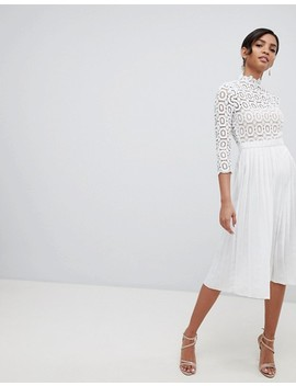 Little Mistress 3/4 Sleeve Lace Top Pleated Midi Dress by Little Mistress