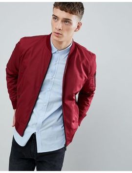 Bershka Bomber Jacket In Dark Red by Bershka