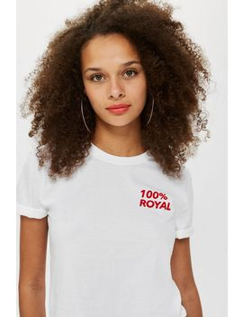 '100 Percents Royal' Cropped T Shirt by Topshop