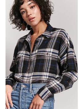 Plaid Button Front Flannel Shirt by Forever 21