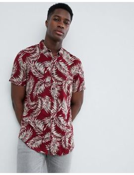 New Look – Burgunderrotes Hemd Mit Federmuster In Regulärer Passform by New Look