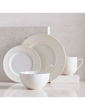 textured-dinnerware,-set-of-16,-white by west-elm