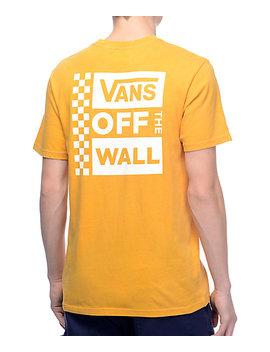 Vans Box Logo Mustard &Amp; White Pigment T Shirt by Vans