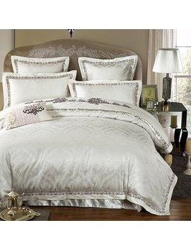 Zangge Bedding Luxury Satin Jacquard Embroidered 3pcs King Size Bedding Sets Include 1 Duvet Cover 2 Pillowcases by Amazon