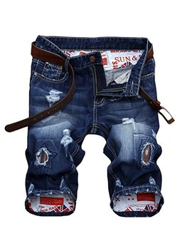 Vogstyle Men's Moto Biker Jeans Shorts Ripped Distressed Denim Shorts With Broken Hole by Vogstyle