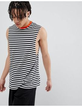 Asos Design – Ärmelloses, Gestreiftes T Shirt In Marine Mit Kontrastierendem Ausschnitt In Orange by Asos Design