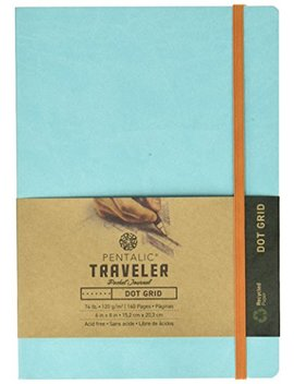Pentalic Art Travelers Dot Grid Sketch Book Acid Free, 6 Inch X 8 Inch, Turquoise, Turquoise Blue by Pentalic Art