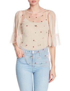 Floral Embroidered Sheer Mesh Blouse by Ro & De