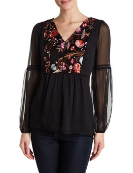 V Neck Embroidered Front Blouse by Catherine Catherine Malandrino