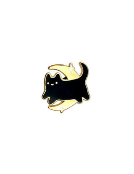 Black Midnight Baby Cat   Gold Metal Lapel Badge   Cute Illustration By Sparkle Collective by Etsy