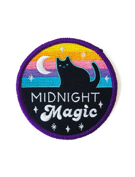 Midnight Magic Iron On Patch   3 Inch Embroidered Magical Cat Illustration By Sparkle Collective by Etsy