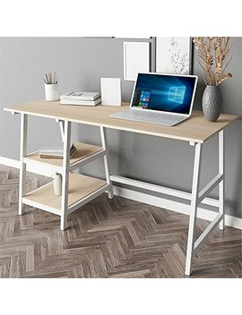 "Dland 55"" Large Computer Desk, Composite Wood Board, Home Office Desk/ Workstation/ Table With 2 Shelves, Tplus 140 Mw Maple & White Legs, 1 Pack by Dland Home"