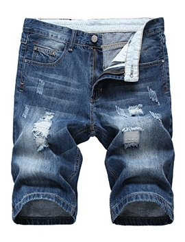 Nihsatin Men's Ripped Distressed Straight Fit Denim Shorts With Hole by Nihsatin
