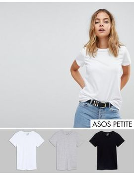 Asos Design Petite Ultimate Crew Neck T Shirt 3 Pack Save 15 Percents by Asos Petite