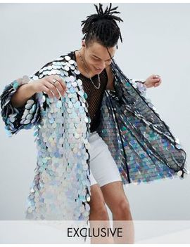 Jaded London Iridescent Sequin Kimono by Jaded London