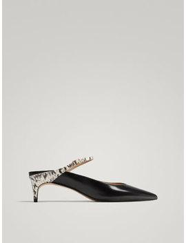 Pantofi EleganȚi DecupaȚi Din Piele NeagrĂ by Massimo Dutti