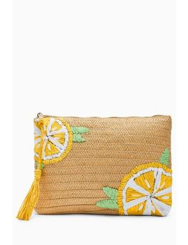 Lemon Straw Clutch by Next