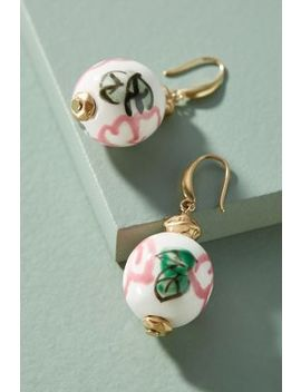 Painted Cherry Blossom Drop Earrings by Anthropologie