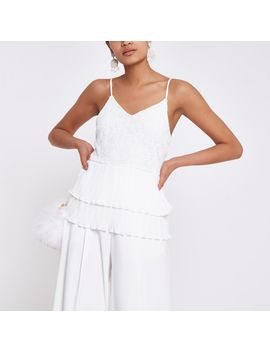 Cream Broderie Tiered Lace Cami Top by River Island