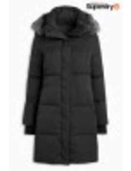 Superdry Graphite Cocoon Faux Fur Parka by Next
