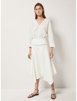 Textured Weave Skirt With Asymmetric Hem by Massimo Dutti